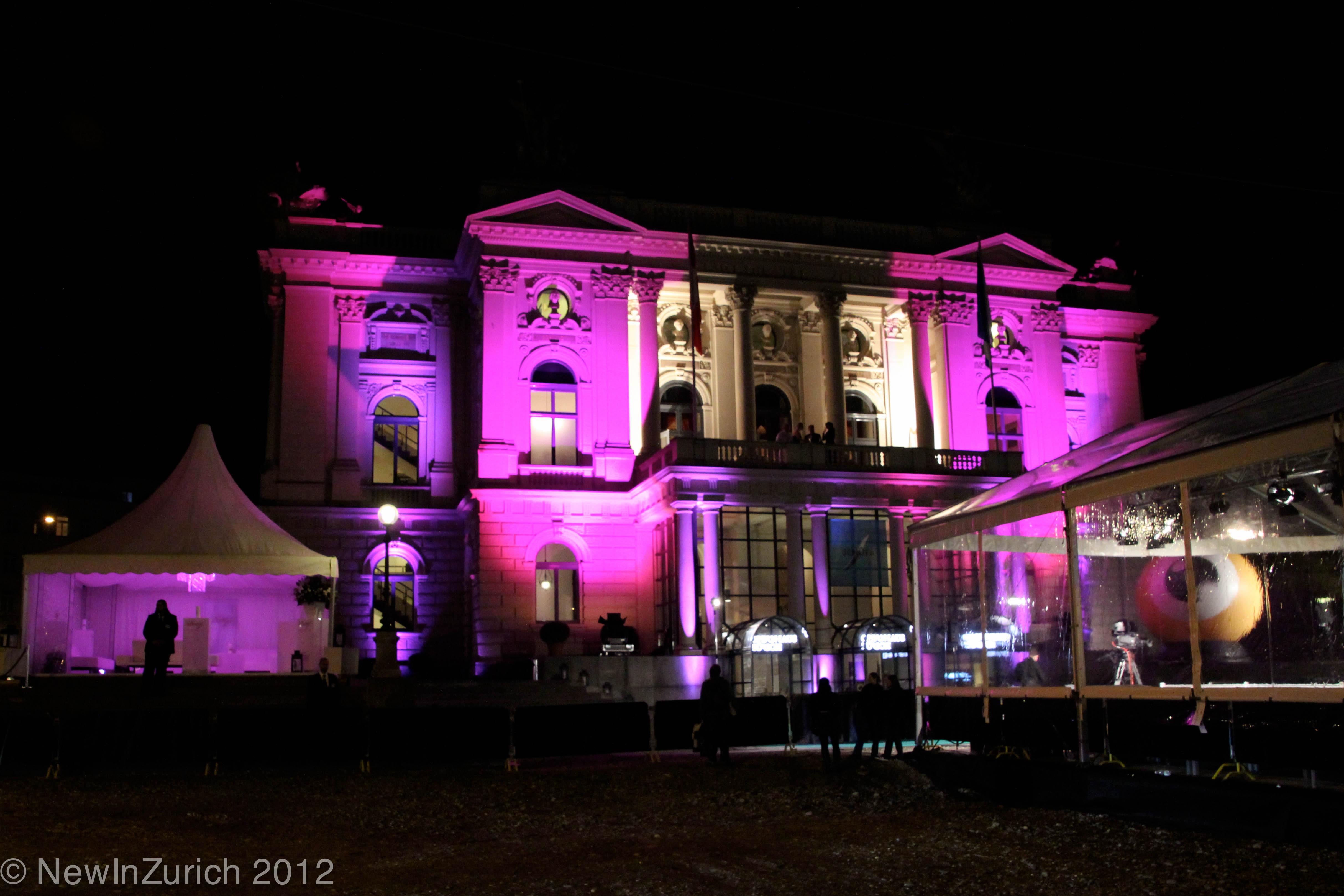 Zurich opera house illuminated, by night © NewInZurich