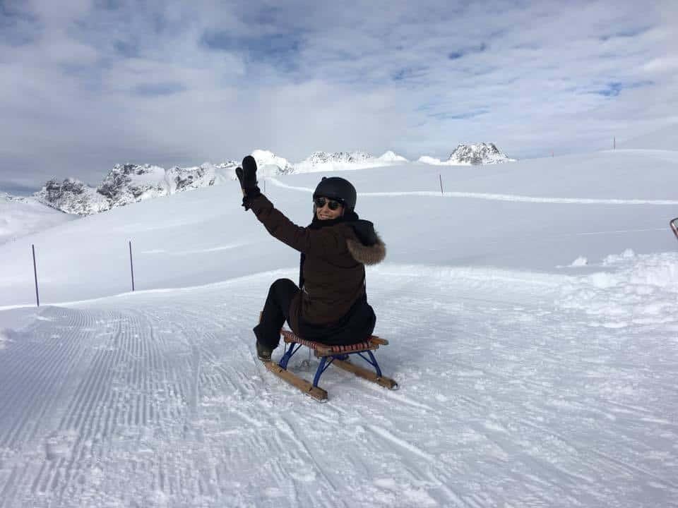 Tobogganing Downhill at St Moritz
