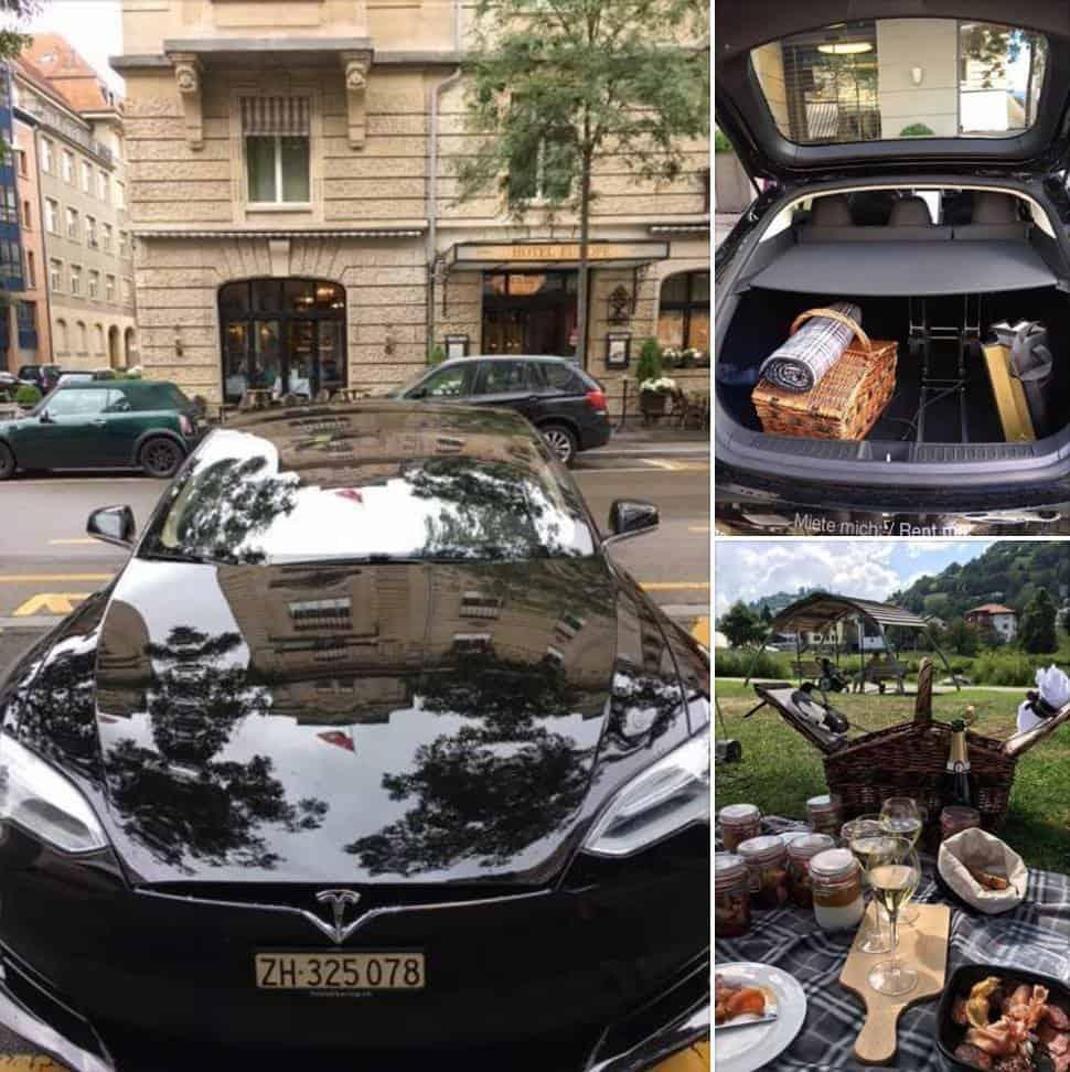 Hotel Ambassador Picnic with a Tesla in Graubünden