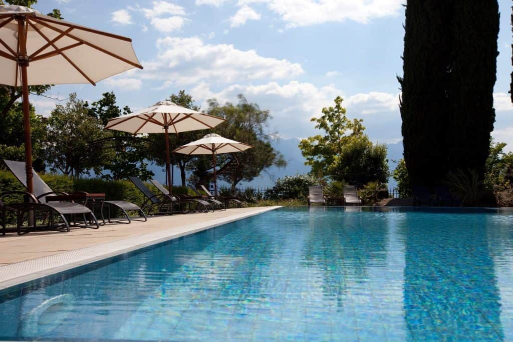 Outdoor pool at the Fairmont Palace Montreux