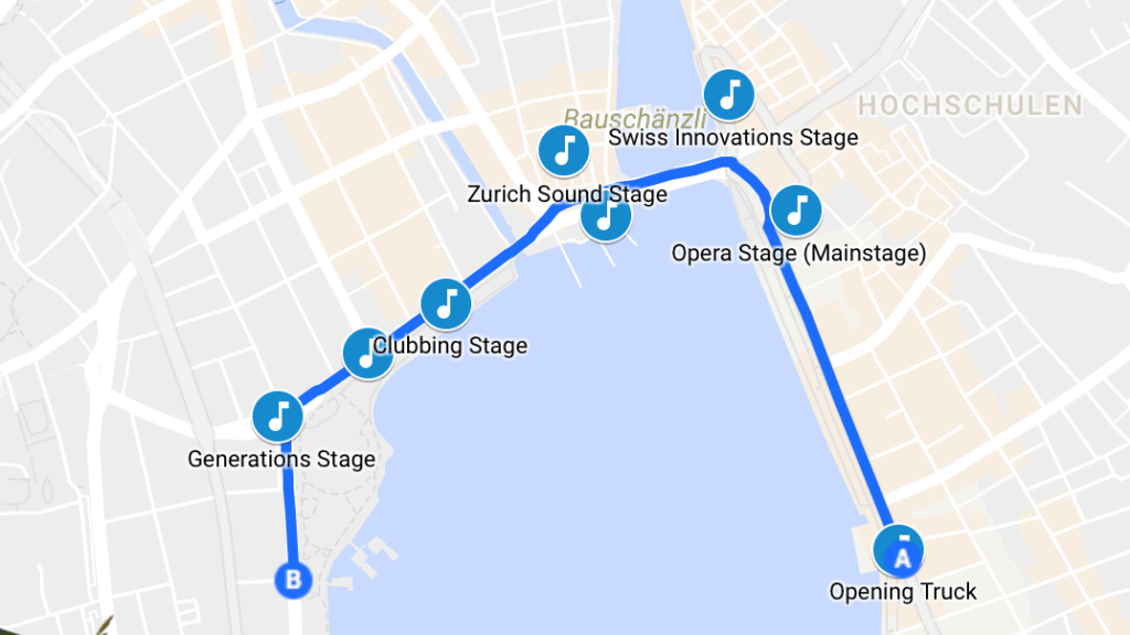 Route for Street parade 2017