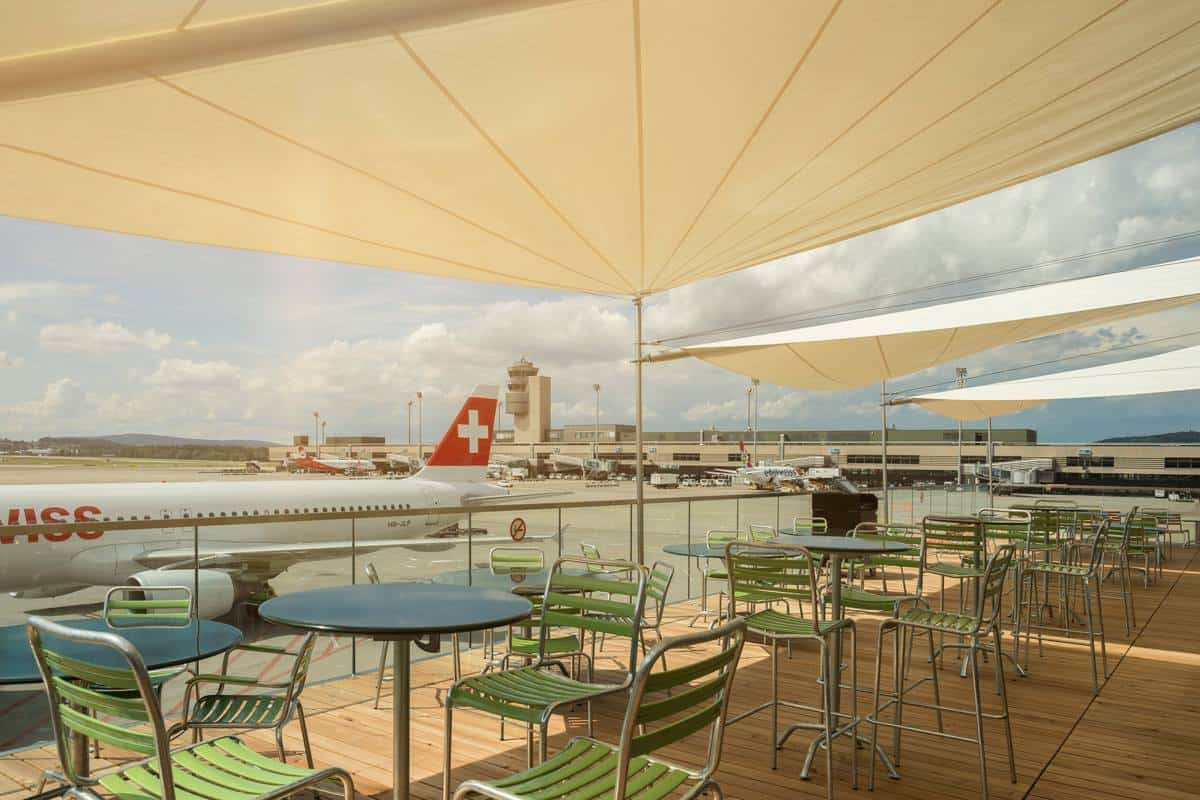 sports bar with outdoor terrace at zurich airport On terrace zurich