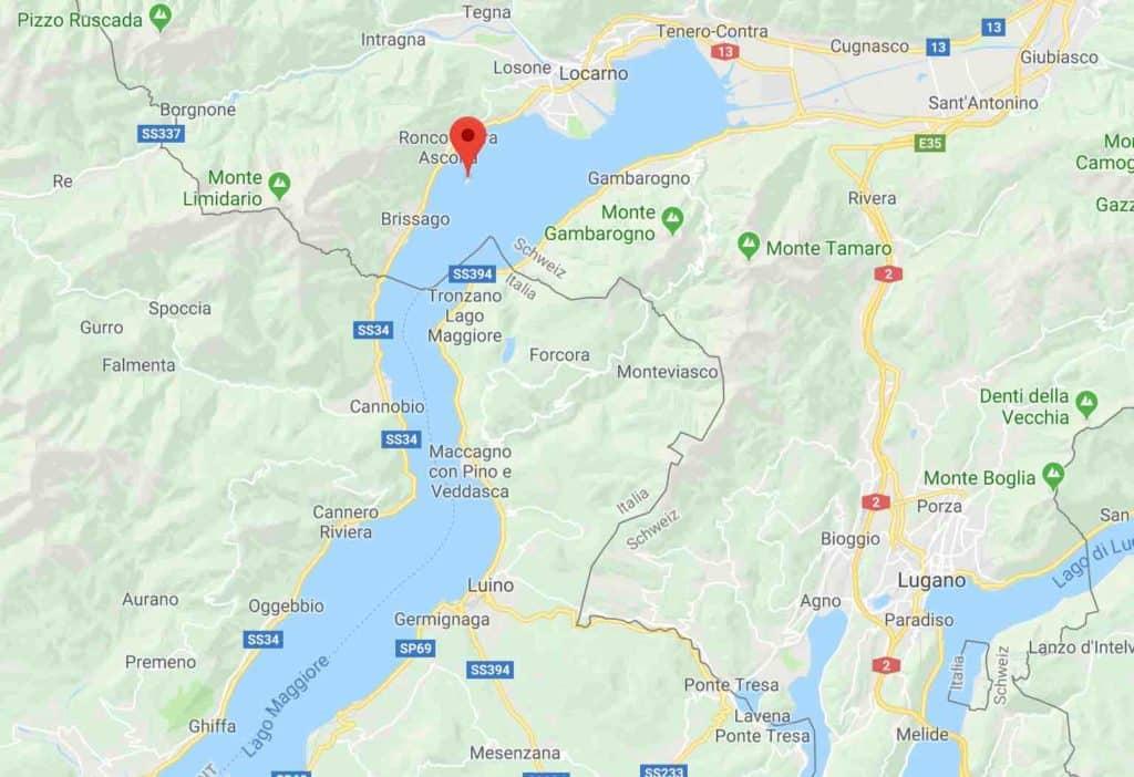 Google map of Brissago Islands Ticino Switzerland