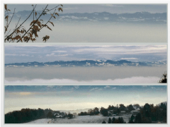 Misty views across the Greifensee towards Bachtel
