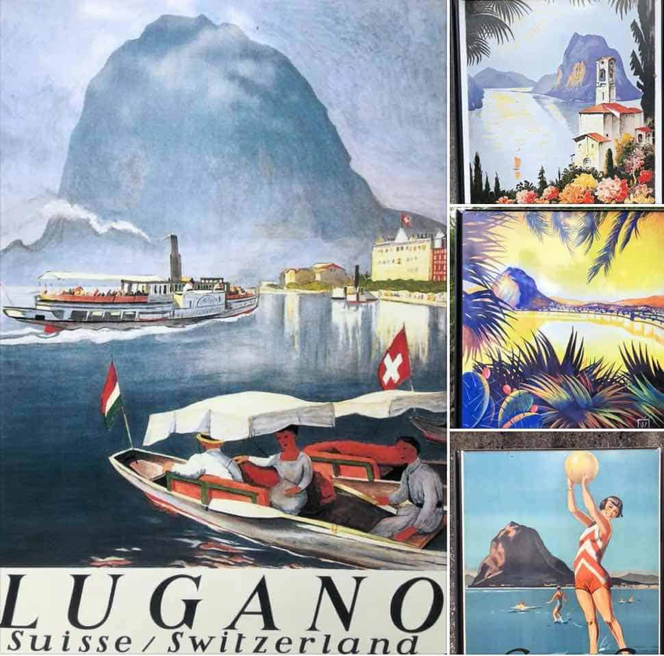 Vintage posters of Logan at Monte San Salvatore Switzerland