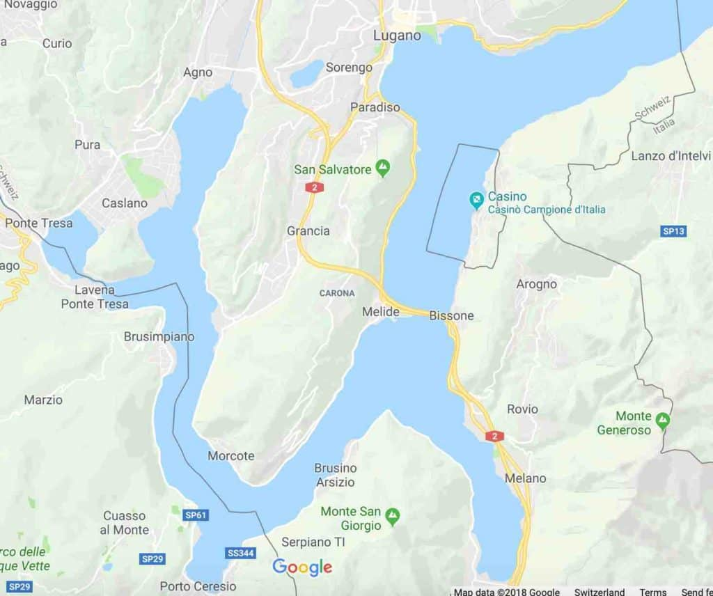 Google Maps of Morcote and Lugano Switzerland