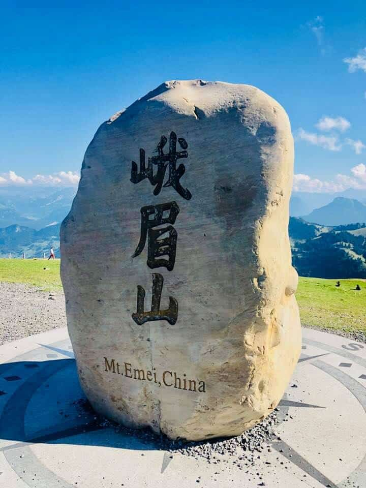 Chinese stone on Mount Rigi Switzerland