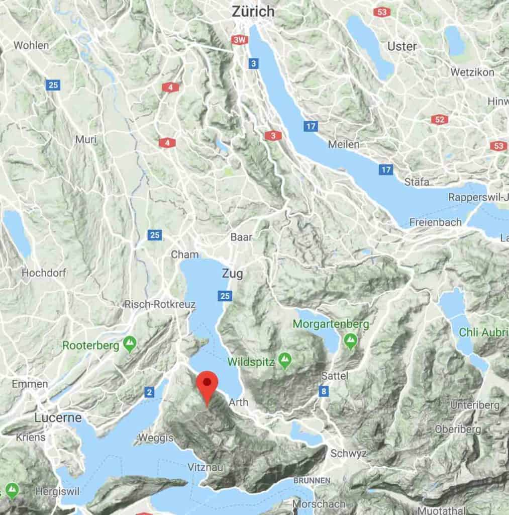 Google maps of Mount Rigi Switzerland