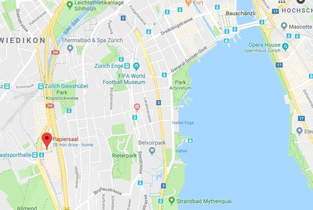 Google Maps Papiersaal Sihlcity Zurich