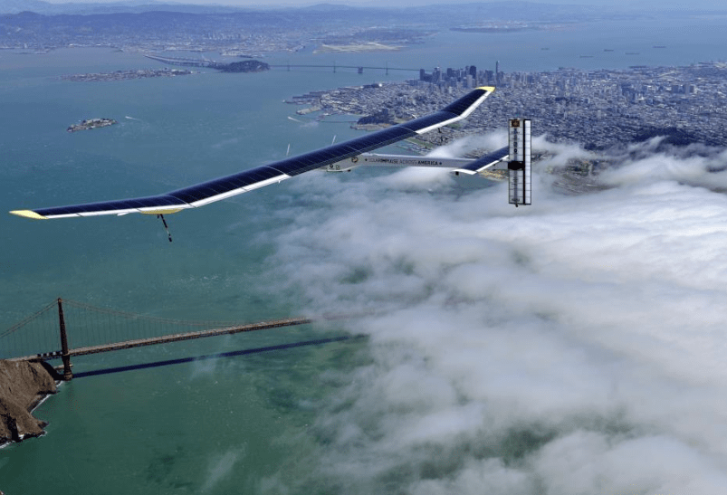 Solar Impulse solare plane by Golden Gate Bridge in USA © Solar Impulse J. Revillard