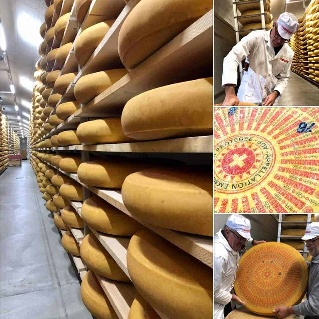 Emmental AOP URTYP Cheese maturing in Switzerland