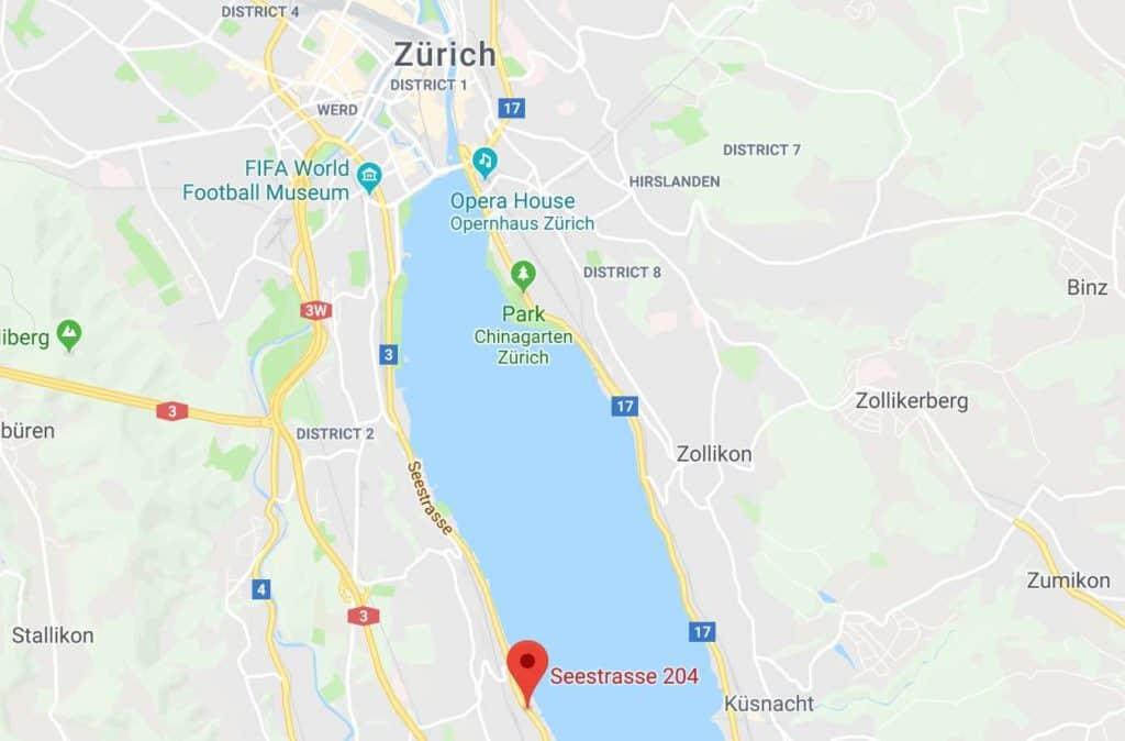 Google Maps of Lindt Factory Kilchberg Zurich