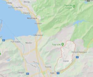 Google Maps Leysin in Vaud Region of Switzerland