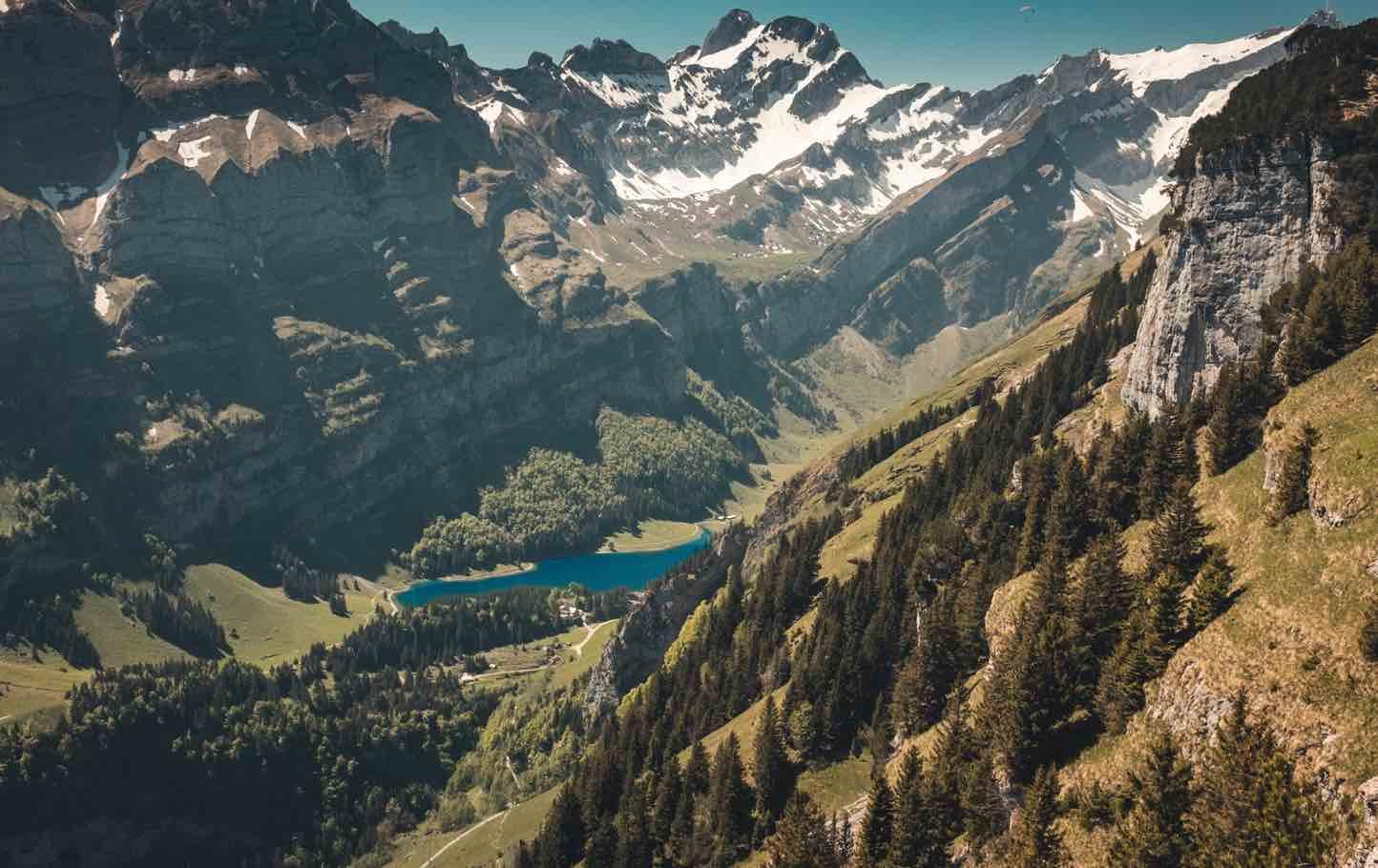 Appenzell mountains close to Aescher Restaurant Ebenalp Switzerland