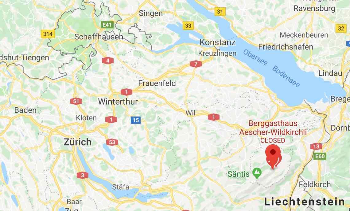 Google Map Äscher Restaurant Ebenalp