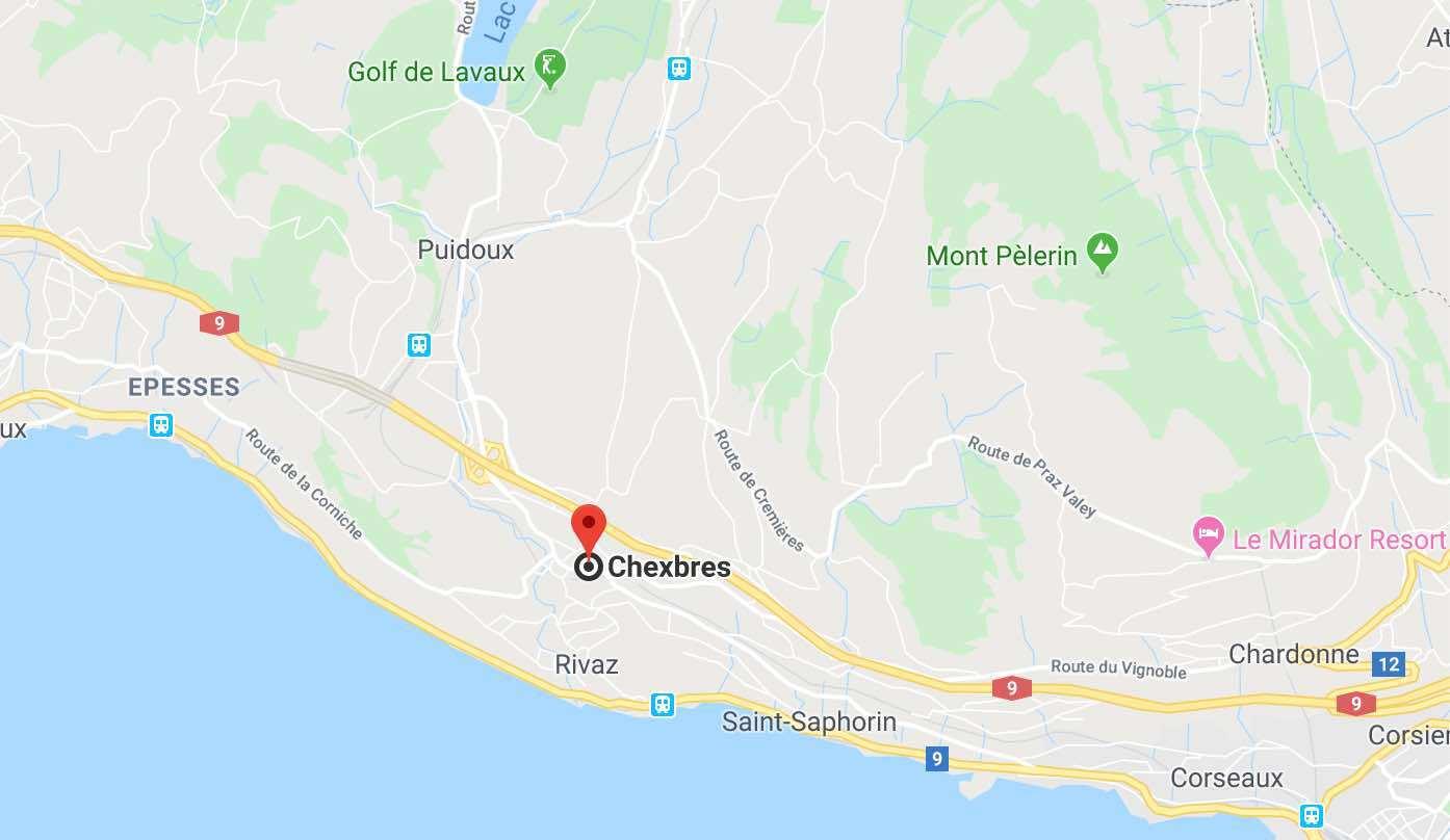 Google Map Lavaux Vineyards Chexbres.