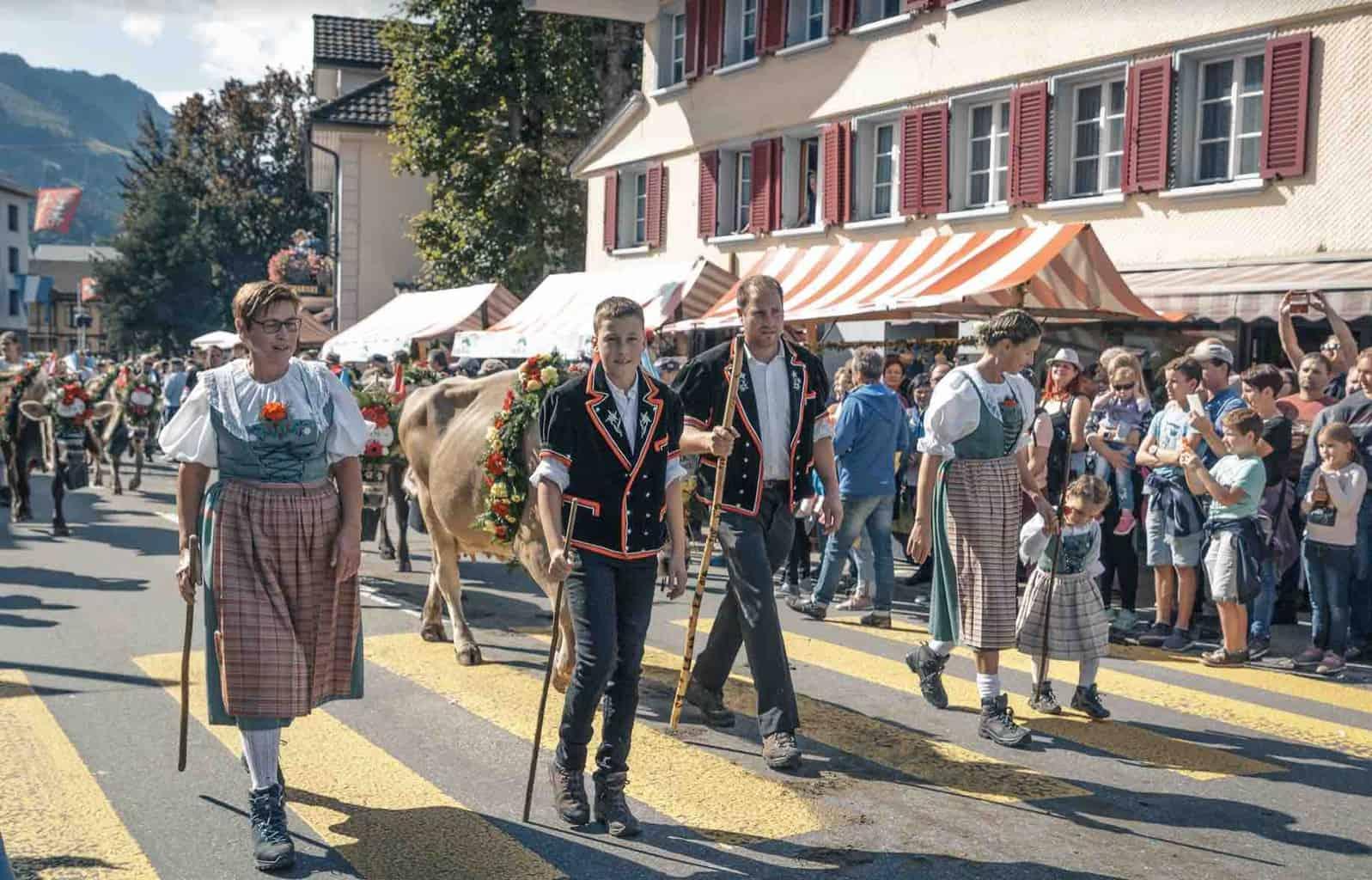 Entlebuch Alpabfahrt. Alpine cow festival Switzerland