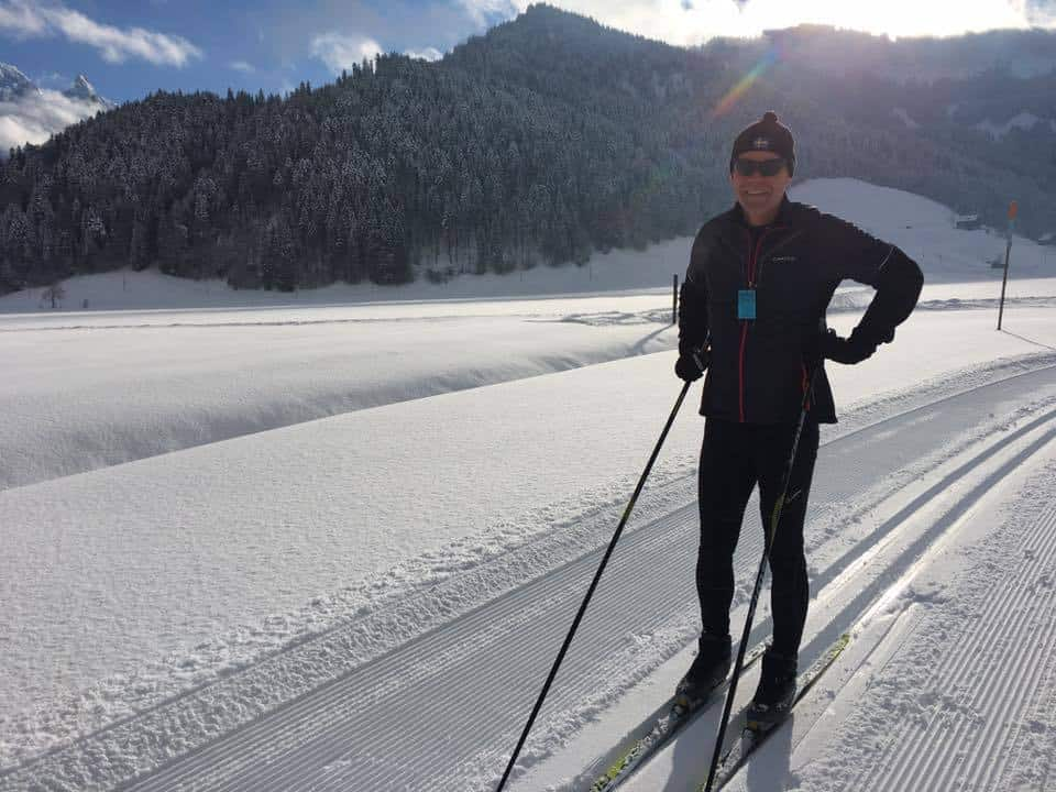 Cross country skiing in Studen Switzerland