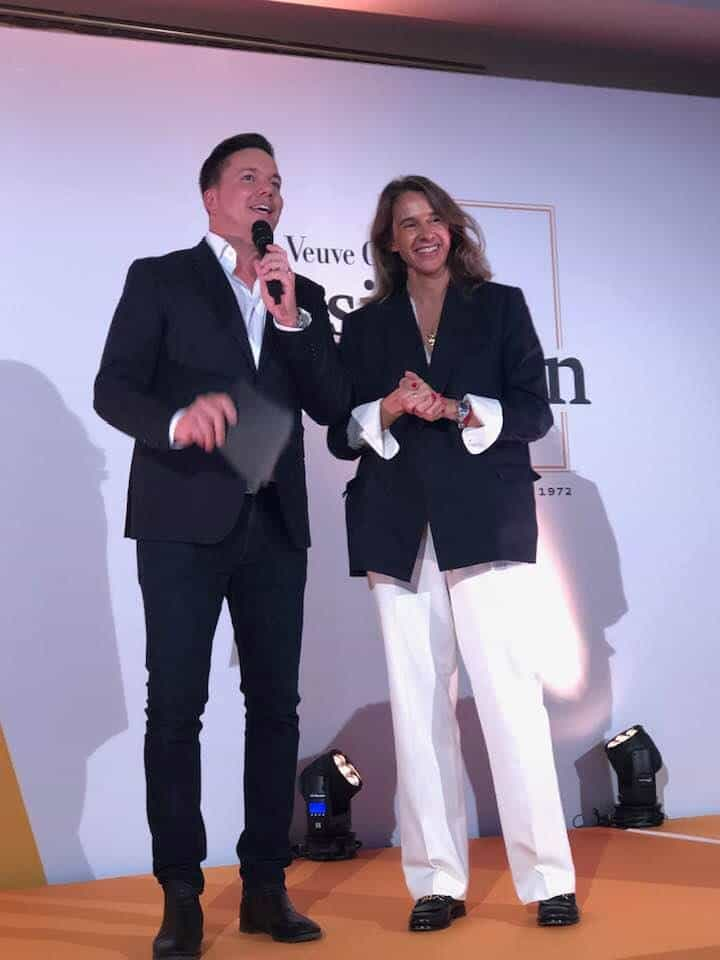 Sven Epiney and Carole Bildé, International Marketing and Communications Director of Veuve Clicquot