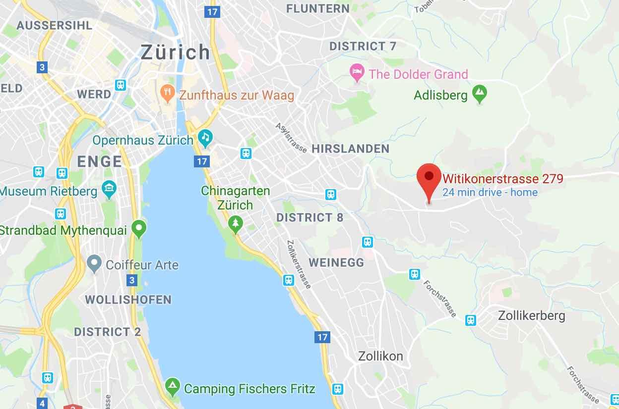 Google maps Confiserie Honold Witikon