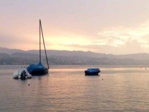 Sunset on lake Zurich