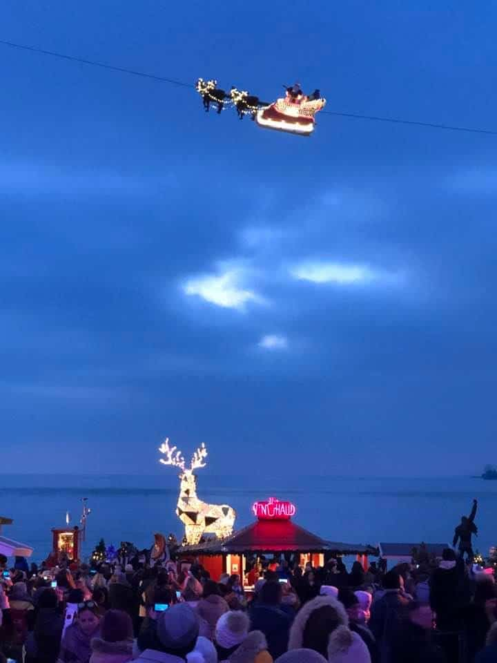 Santa in the sky Montreux Noël Montreux Christmas Market