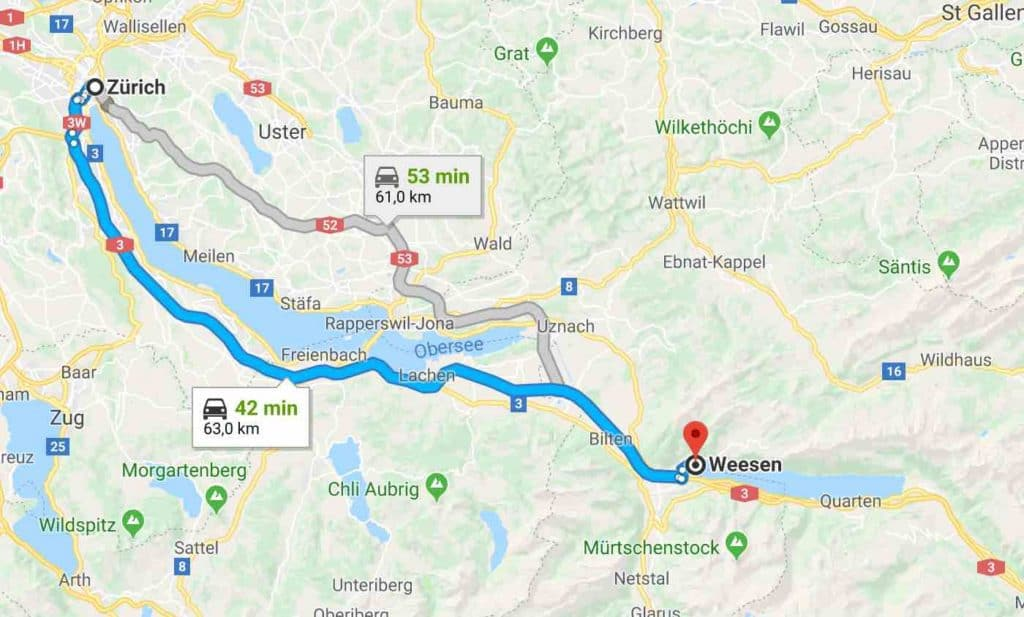Google Maps to Walensee Weesen