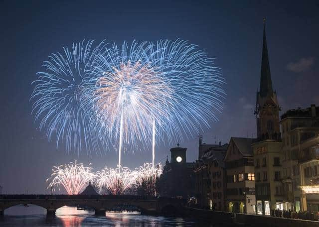 New Year fireworks zurich 2015