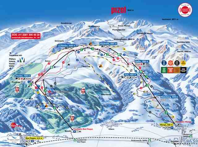 Map of Pizol ski resort