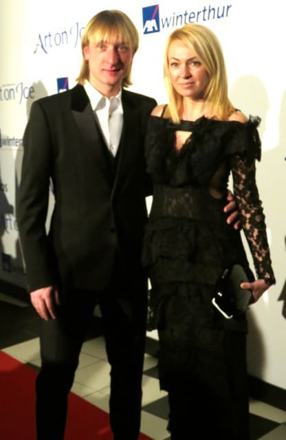 Evgeni Plushenko and wife in Zurich