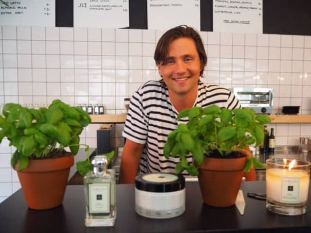 Jo Malone at Juicery21 with Fred