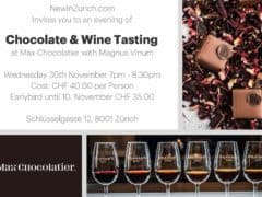 Chocolate and Wine Tasting Event at Max Chocolatier
