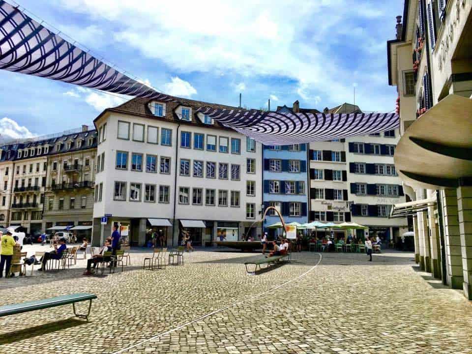 The sails art installation Münsterhof Zurich
