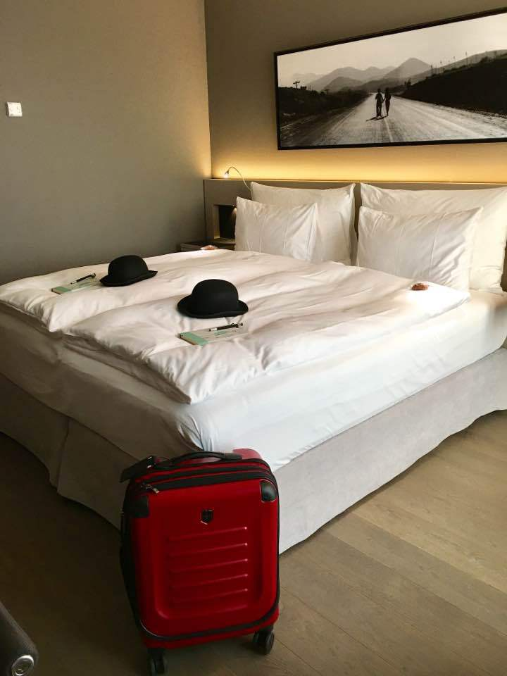 Modern Times Hotel with Victorinox suitcase