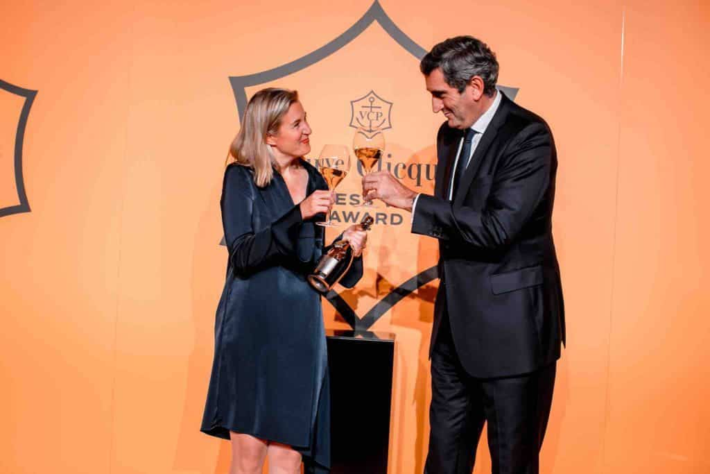 Barbara Lax and Jean-Marc Gallot, president of Veuve Clicquot