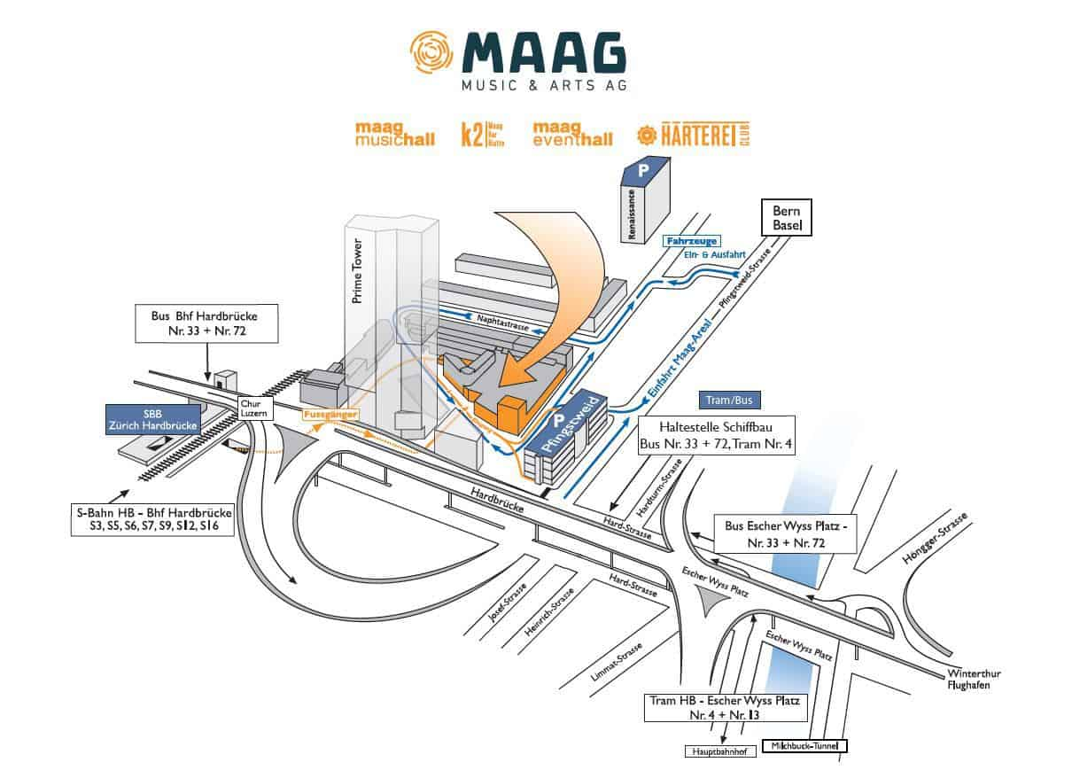Map to Maag Halle Zurich
