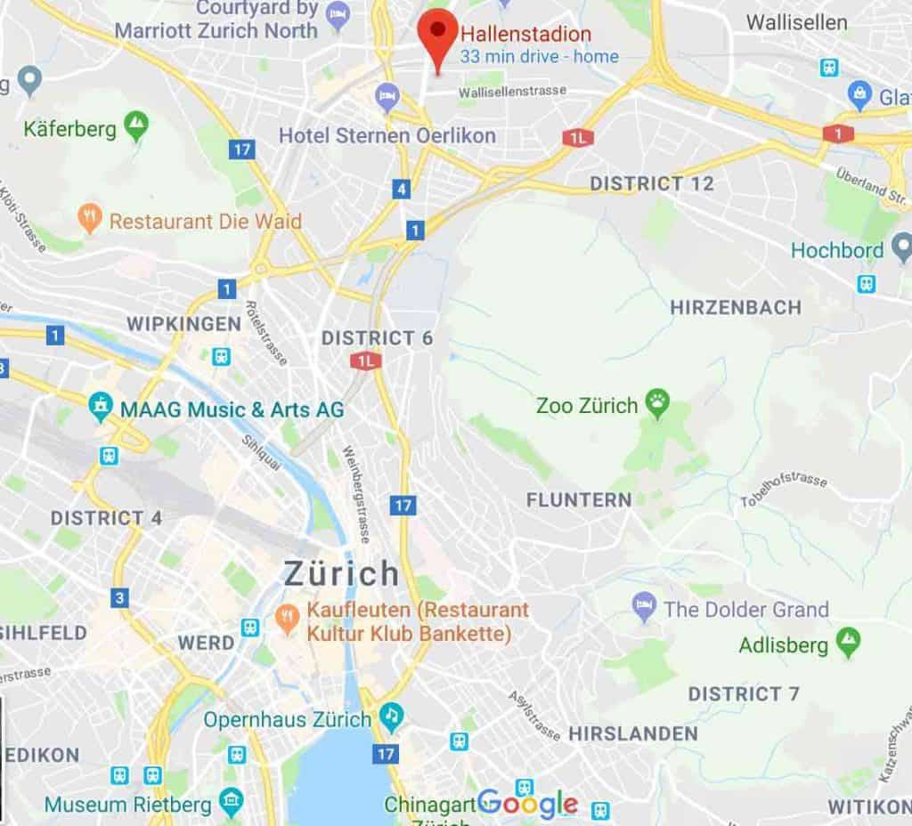 Google Map to get to Hallenstadion and Messe Zurich