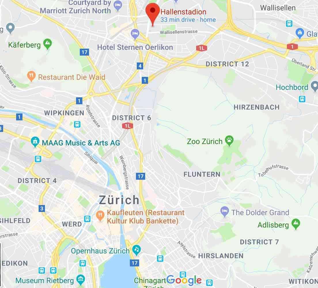 Google Map to get to Hallenstadion and Messe Zurich