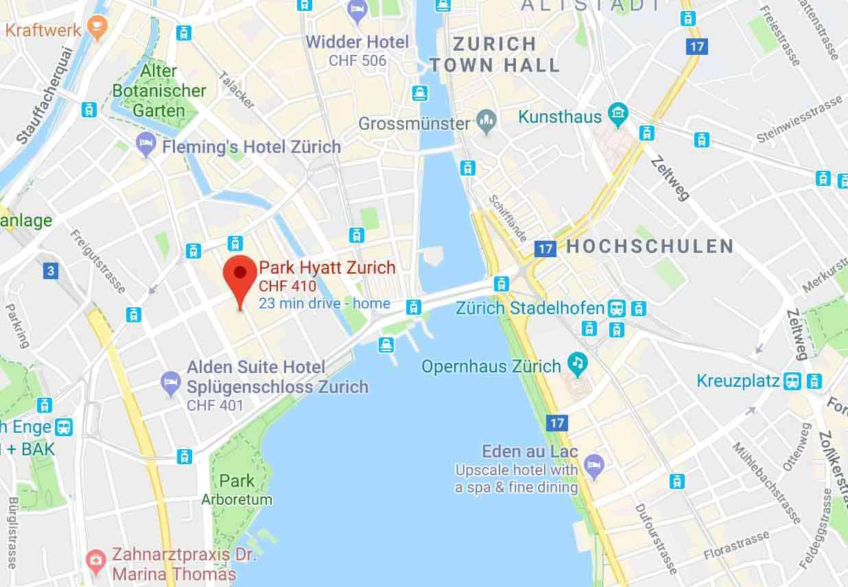 Google Map of Park Hyatt Hotel Zurich