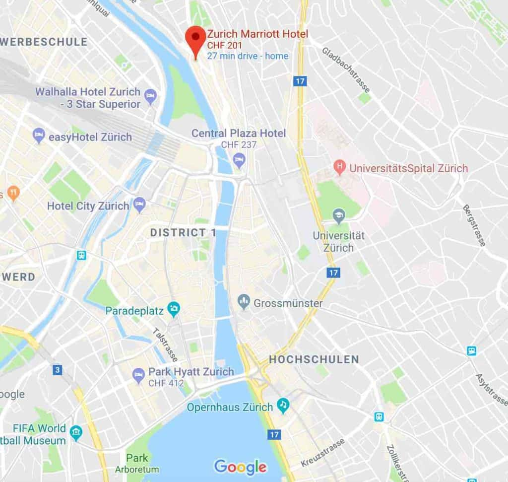 Google Map of Marriott Hotel Zurich