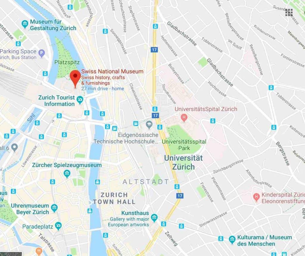 Map of Swiss National Museum Zurich