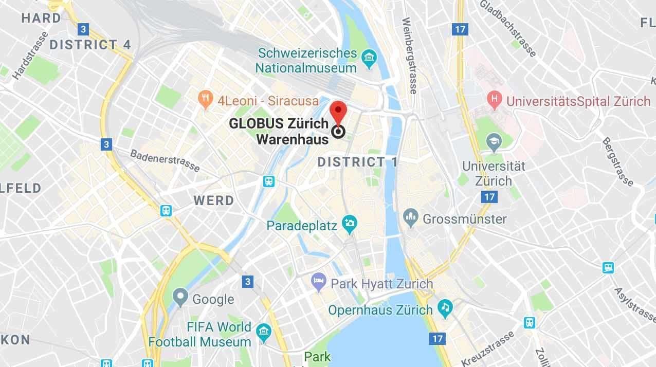 Google Maps Globus Bahnhofstrasse Zurich