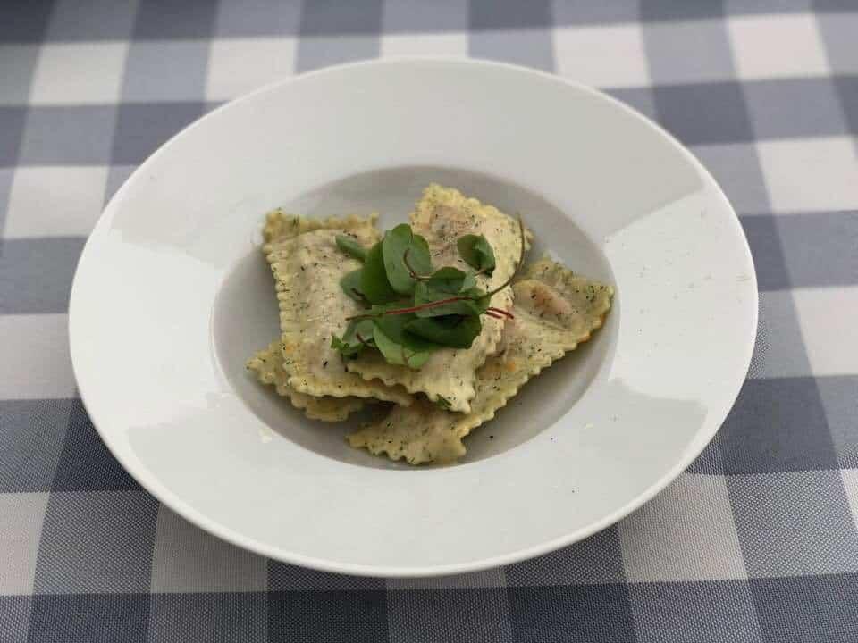 Ravioli starter at Hotel Restaurant Wassberg Forch