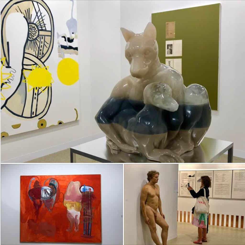Sculptures and art at Art Basel art fair 2018