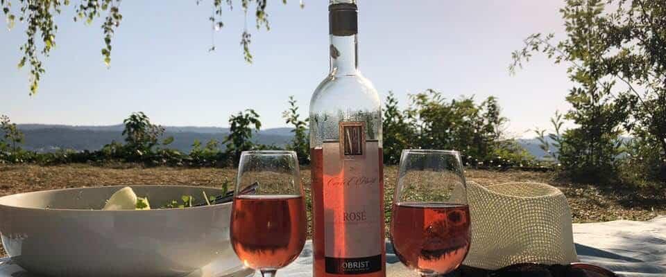 Obrist wine rose glass of wine