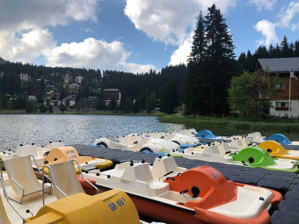 Pedalos near Hotel Valsana Arosa Switzerland