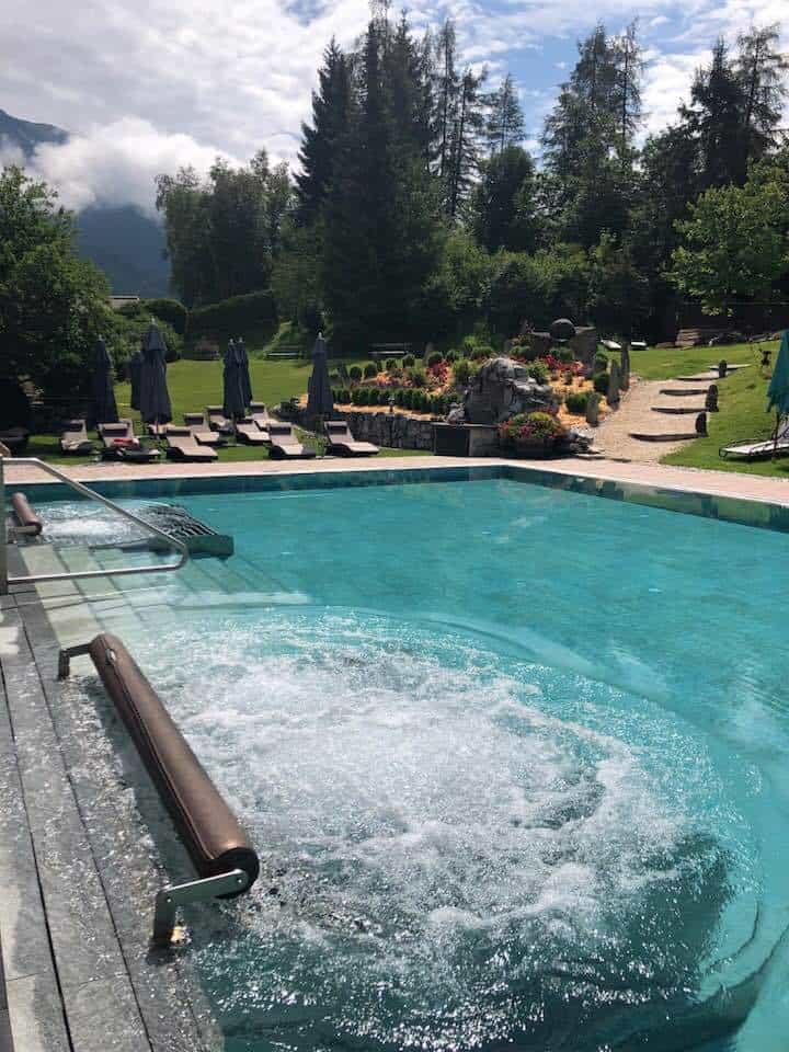 Outdoor pool at Hotel Klosterbraü & Spa South Tirol Austria
