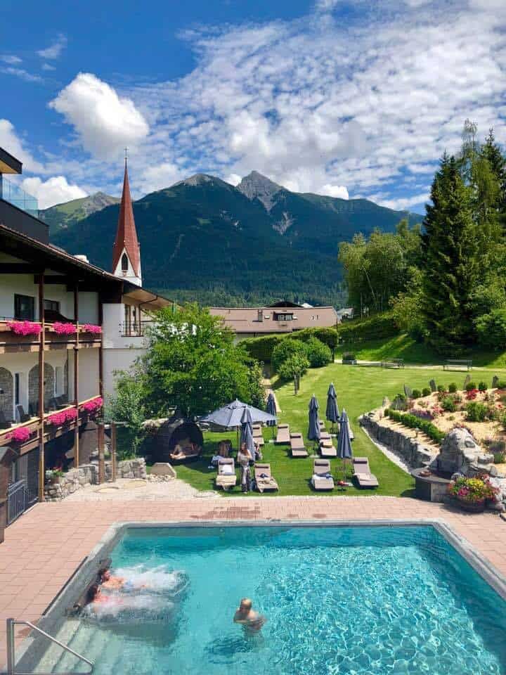 Outdoor pool at Hotel Klosterbraü & Spa South Tirol Austria