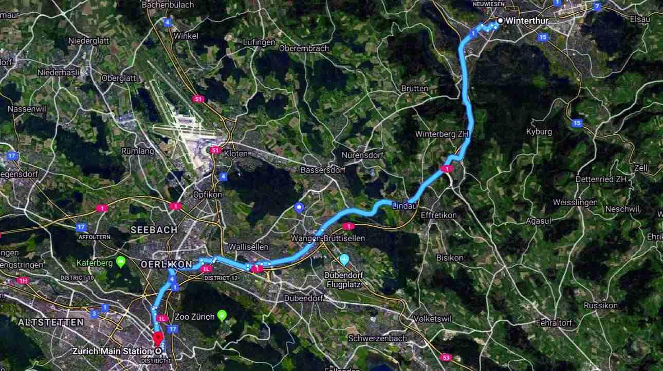 Zurich to Winthethur