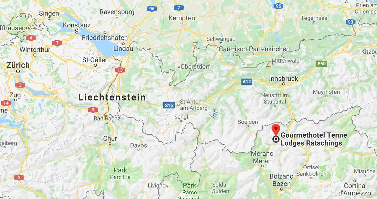 Google map Gourmethotel Tenne Lodges Ratchings / Racines South Tyrol